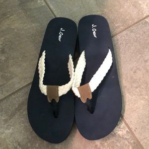 NWOT j crew flip flops white and navy ⛴